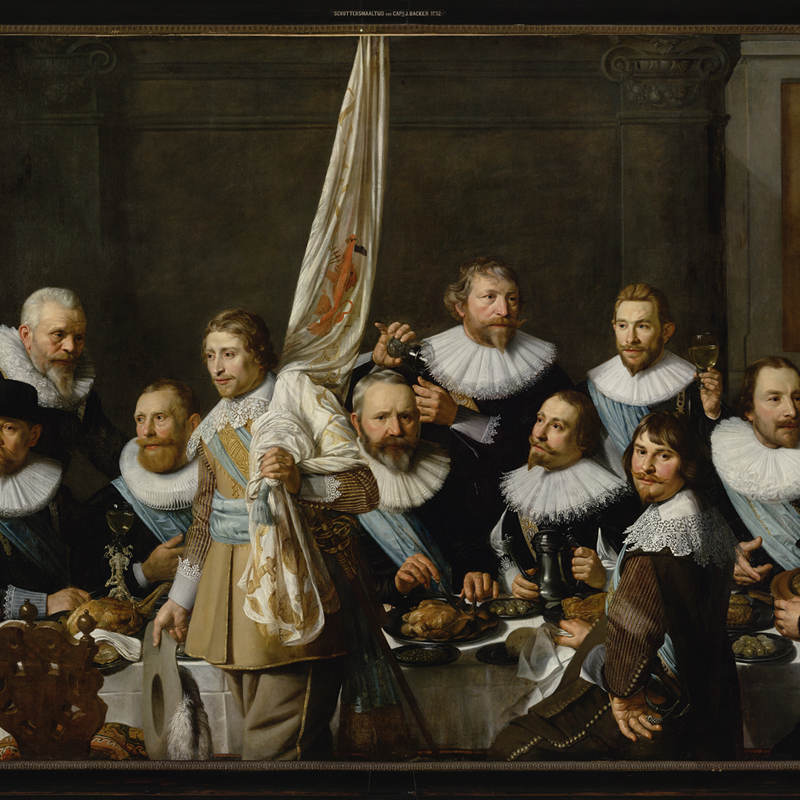 A painting of men in the golden age wearing white collars in the Portrait Gallery of the golden age.