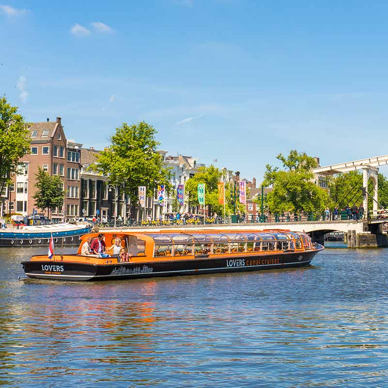Distant view of a Lovers boat during an Amsterdam Canal Cruise.