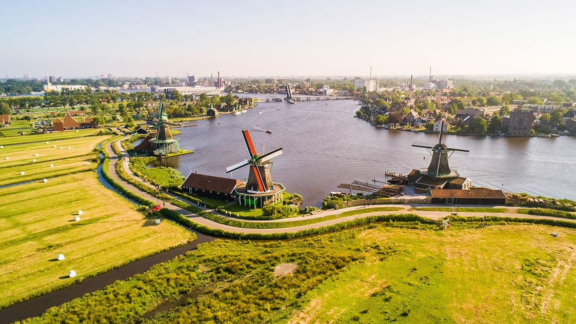 Aerial view of the Zaanse Schans