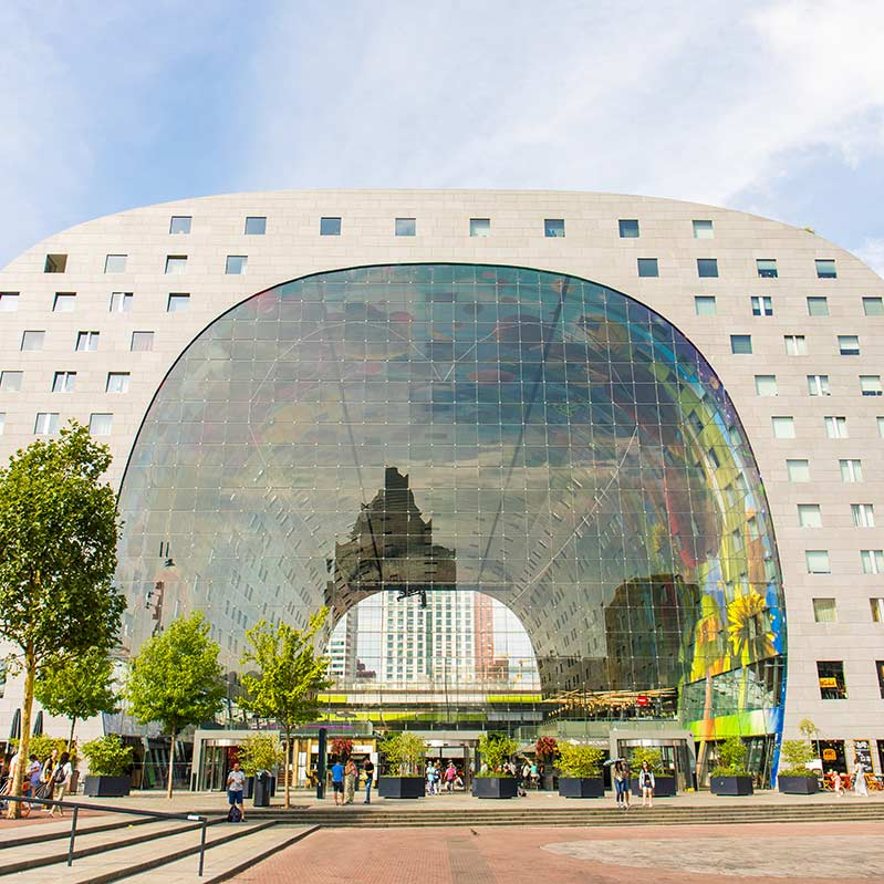 The Markthal in Rotterdam seen from a distance.