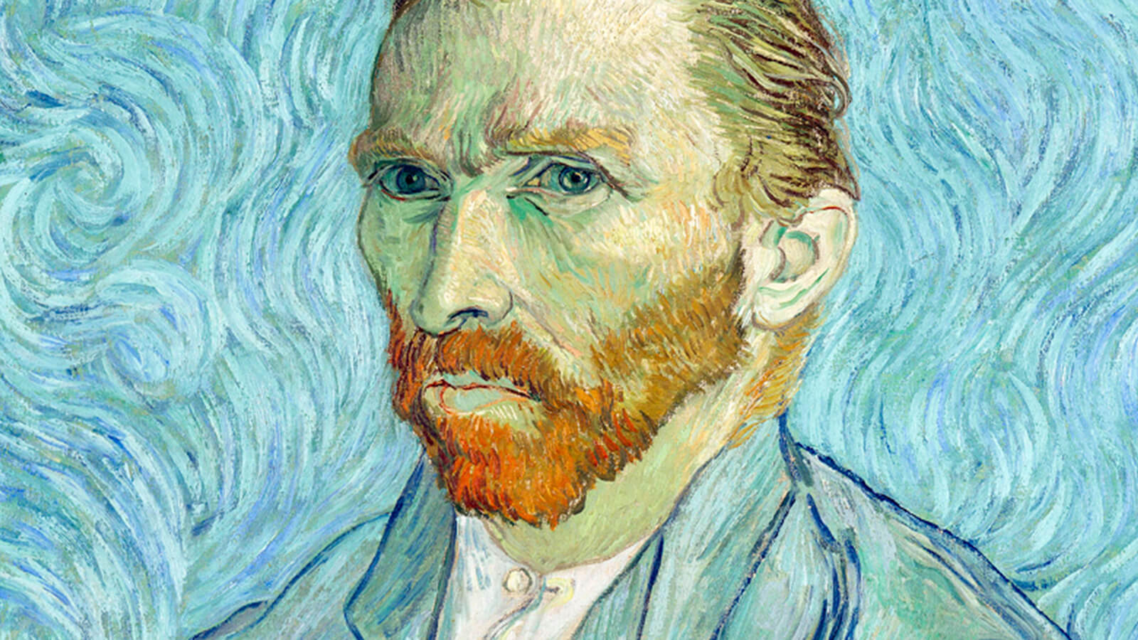 A self portrait by Vincent van Gogh in primarily blue.