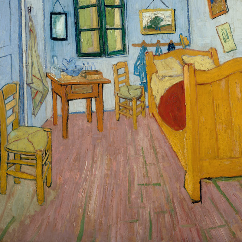 Painting of a bedroom in yellow and blue by Vincent van Gogh.