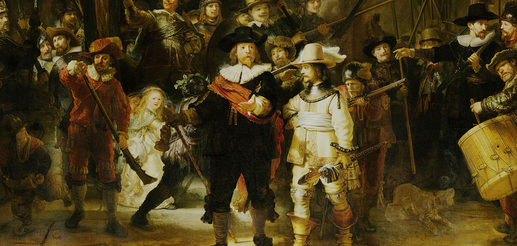 The Night watch as it can be seen at the Rijksmuseum in Amsterdam.